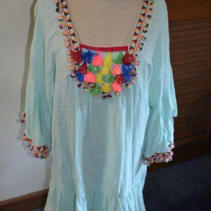 Velzera Mint Green Tunic Top with fun details